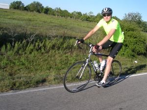 Riding my first road bike.